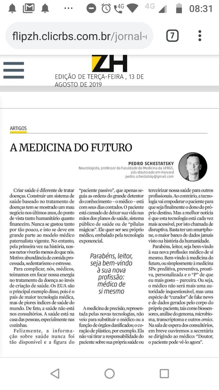Artigo Medicina do Futuro ZH 2019